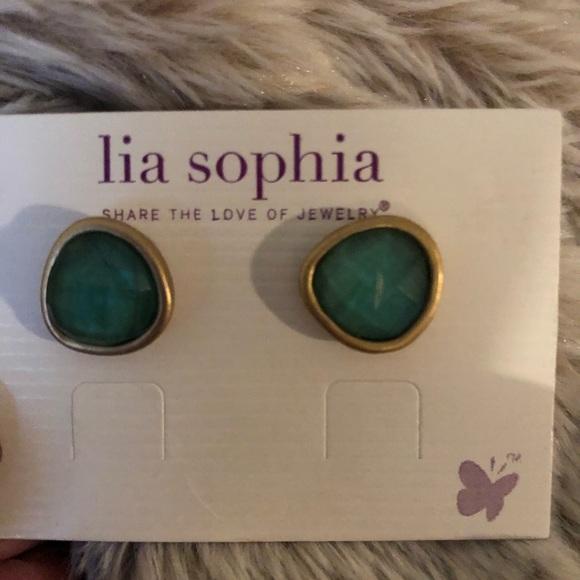 927bfbbc1 Lia Sophia Jewelry | Studs Retired Piece Green And Gold | Poshmark